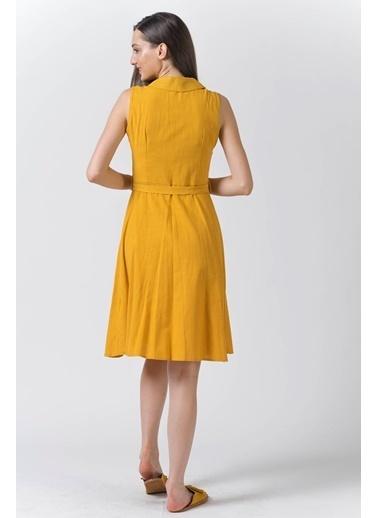Reyon Gömlek Yaka Sıfır Kol Keten Elbise Krem Hardal